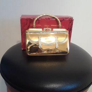 Handbags - Gold Metal Purse with Rhinestones